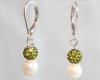 White Akoya Sea Pearl Earrings with Green Swarovski Crystal