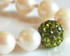 White Akoya Sea Pearl Necklace with Green Swarovski Crystal