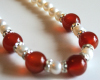 Natural Red Jade and Cultured Pearl Necklace