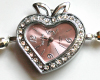 Light Pink Freshwater Pearl Watch with Crystal Heart Face