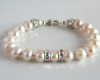 White Pearl and Swarovski Crystal Bracelet