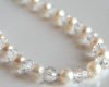 White FW Pearl Necklace with Faceted Swarovski Crystal Beads