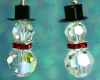 Snowman Earrings - Crystal - RED