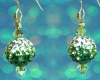 Christmas Ornament Earrings - Green