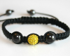 Canary Yellow Glitter Ball Bead Macrame Bracelet