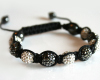 Gunmetal Gray and White Swarovski Glitter Ball Bead Macrame Brac
