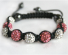 Pink and White Swarovski Glitter Ball Bead Macrame Bracelet