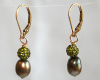 Olive Green Freshwater Pearl Earrings with Swarovski Crystal