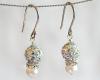 White Swarovski Glitterball and Pearl Earrings